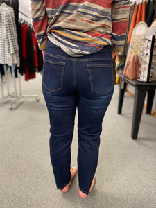 Indigo Cropped Jean with Lace Grommet