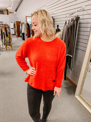 Red Scoop Neck Sweater