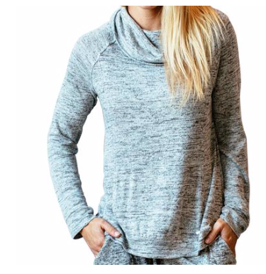 Carefree Thread Light Grey Cowel Neck Lounge Top