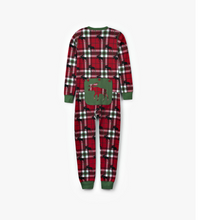Load image into Gallery viewer, Holiday Moose On Plaid Kid's Union Suit
