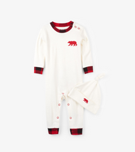 Load image into Gallery viewer, Buffalo Plaid Baby Coverall and Hat