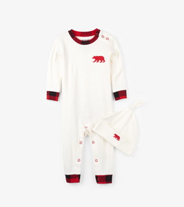 Buffalo Plaid Baby Coverall and Hat