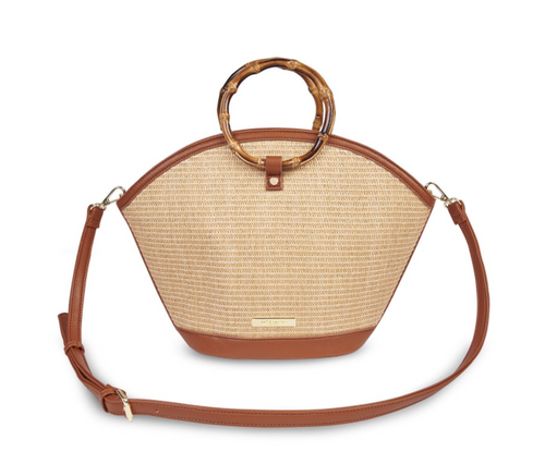 Capri Straw Round Handle Purse