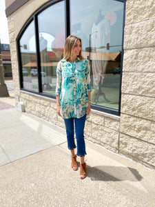 Multi Teal Floral Button Up