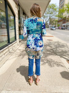 Blue Multi Draped Cardigan