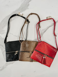 Faux Croc Leather Crossbody