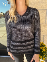 Load image into Gallery viewer, Black Fuzzy Tweed Sweater
