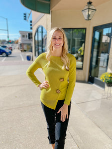 Chartreuse Sweater with Button Detail