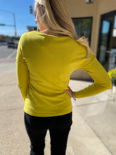 Load image into Gallery viewer, Chartreuse Sweater with Button Detail