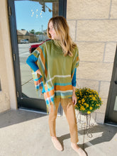 Load image into Gallery viewer, Green Plaid Cowl Poncho Top