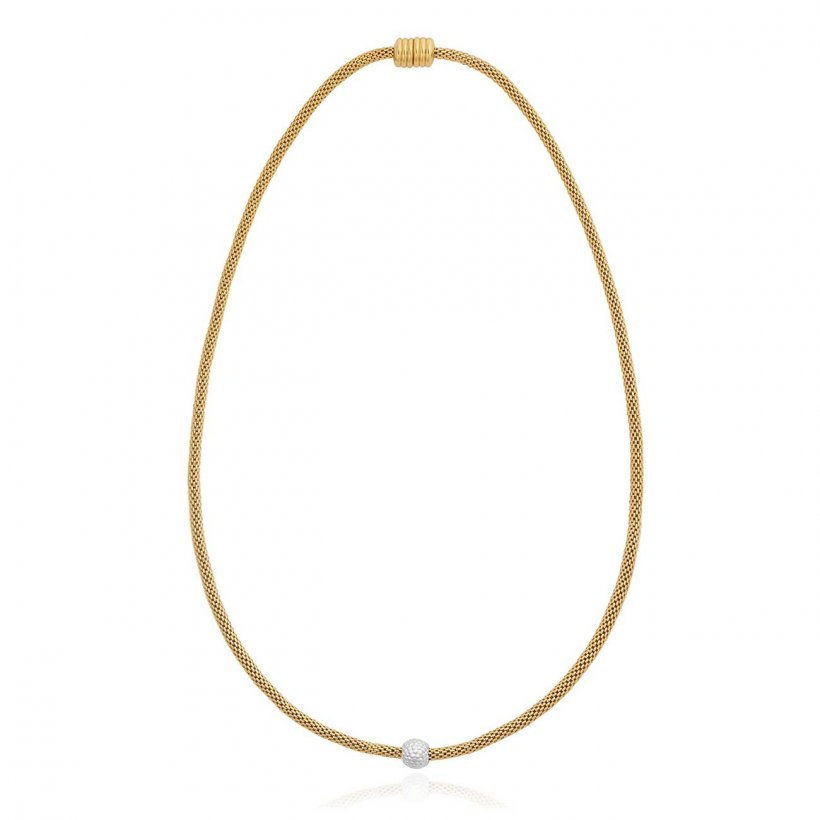 Halo Venetian Chain Bobble Bead Two Tone Necklace