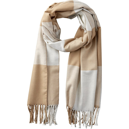 Beige/White Wool Plaid Scarf