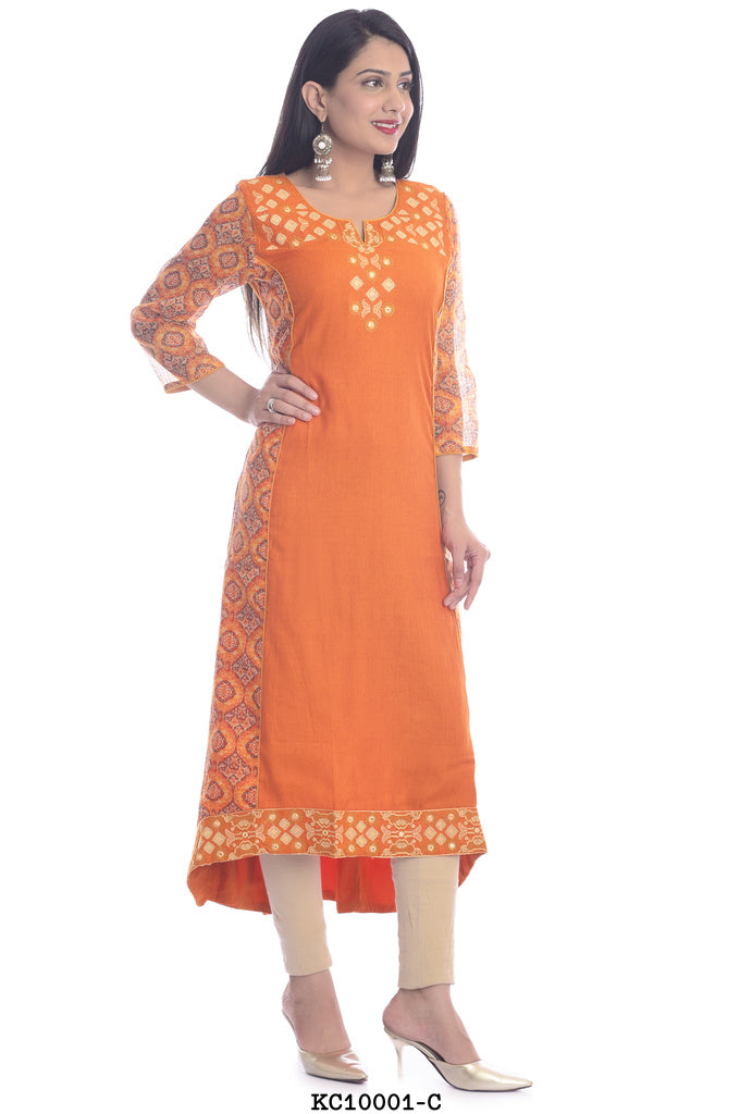 Women's Floral Orange Kurti