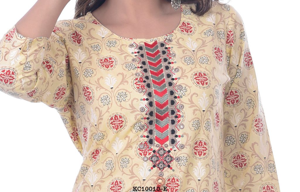 Women's Simple Kurti with Neck Embriodory Design