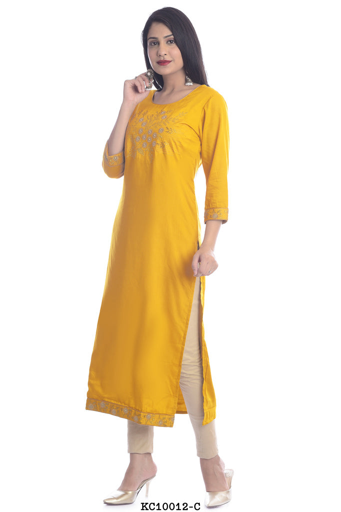 Women's Simple Yellow A-line Kurti