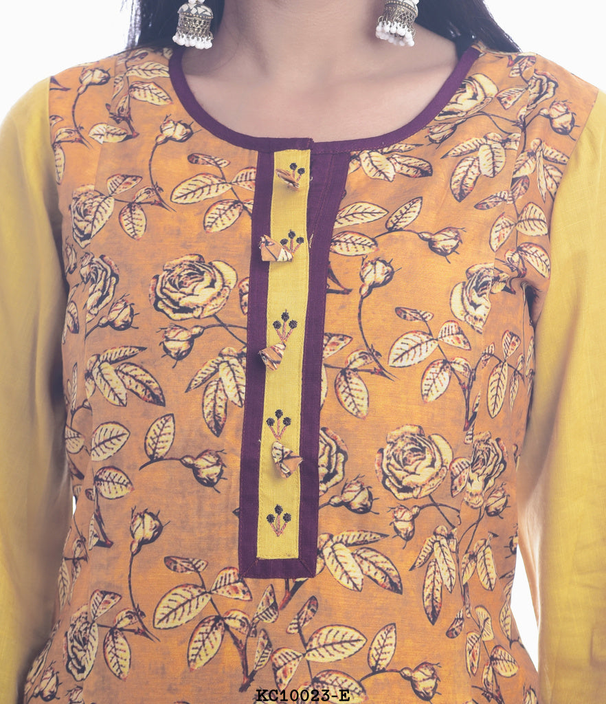 Rounded Neck Orange Kurti leaf style with Yellow Plazzo