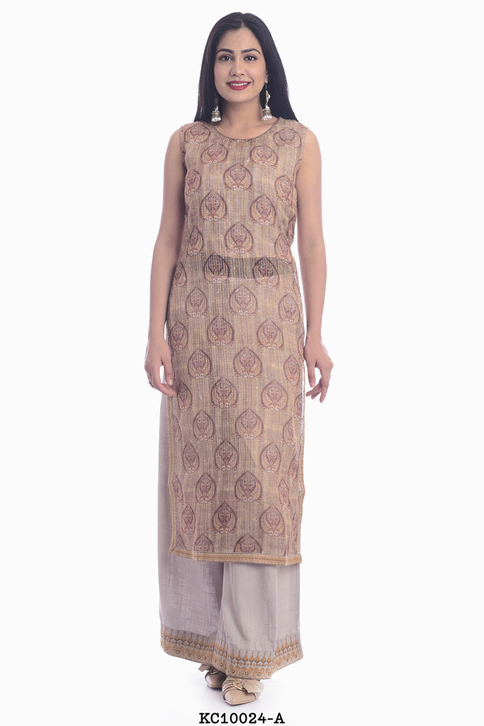 Off Shoulder A-line Straight Kurti with off white plazzo set