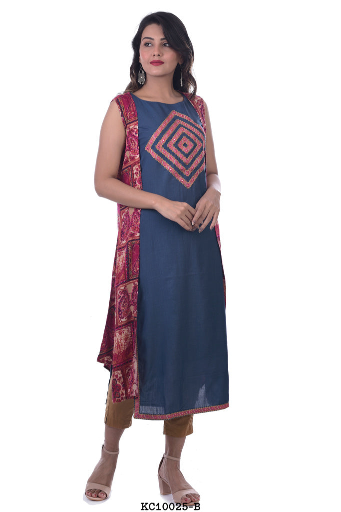 Blue Kurta with Red Plazzo and Printed Shrug