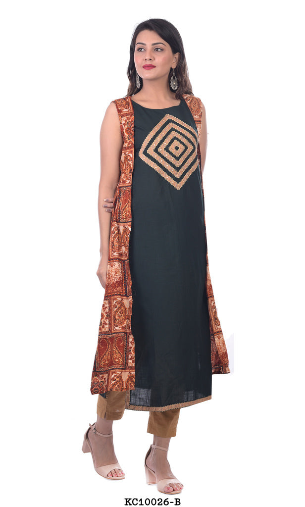 Dark Green Plain Kurta with Maroon Printed Shrug