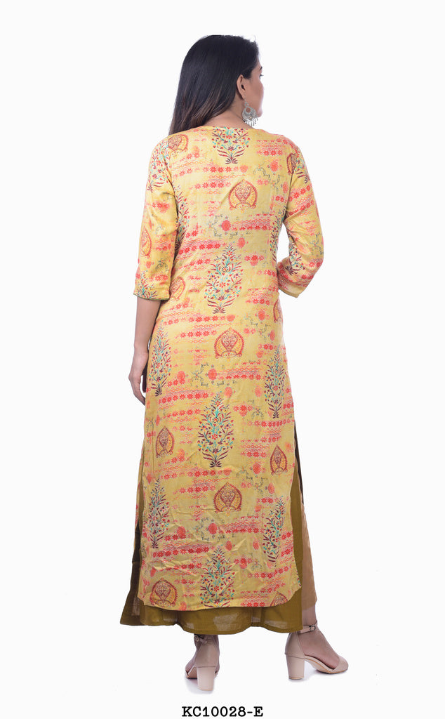 Light Olive Kurta with Light Yellow Shrug