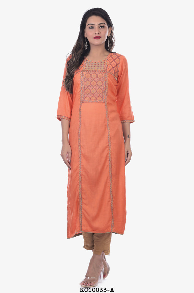 Round Neck Peach colour straight Kurta