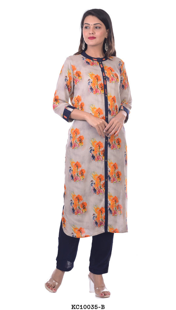 Off white Blue Border Flower Kurta