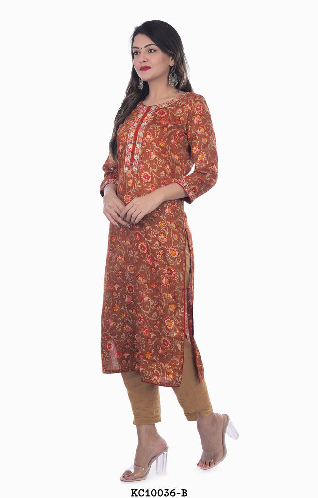 Women's Light Maroon Embroidery Kurta