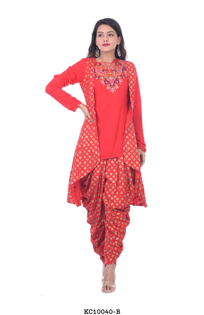 Women's Red kurta with Patiyala Pant and Shrug