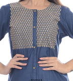 Blue 3/4 sleeves Button style kurti