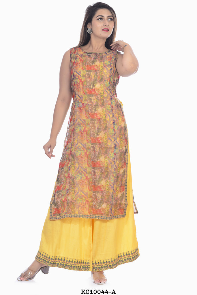 Sleeveless straight kurta with plazzo pant