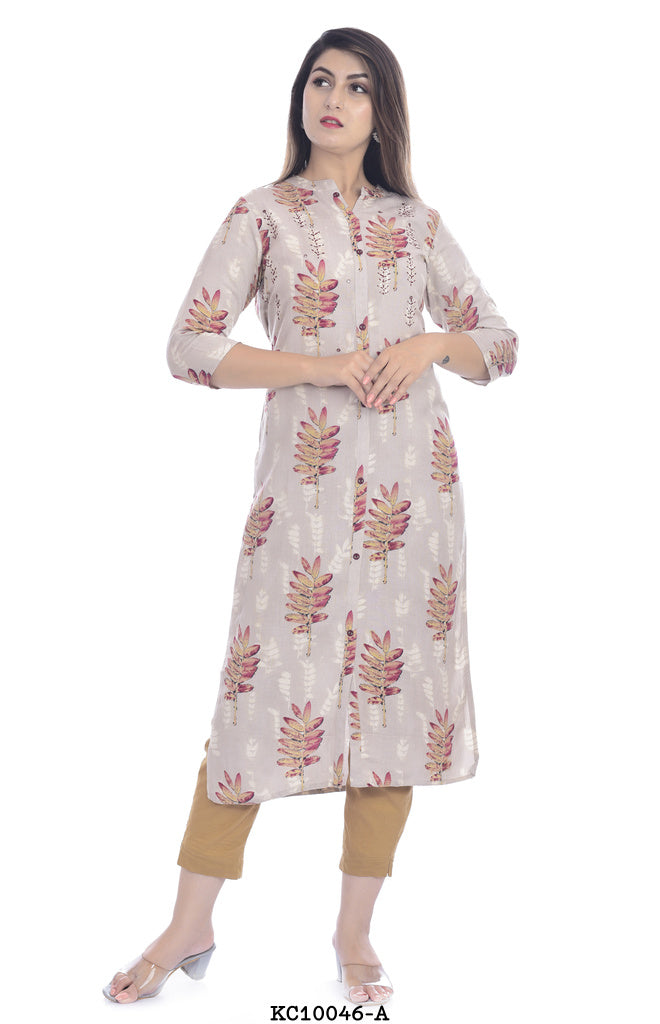 Round High Neck white printed kurta
