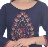 Navy Blue Simple kurta with red printed Plazzo