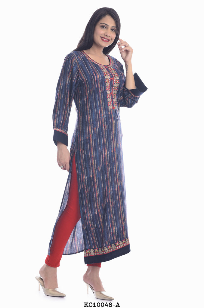 Long Kurti with printed Blue Design