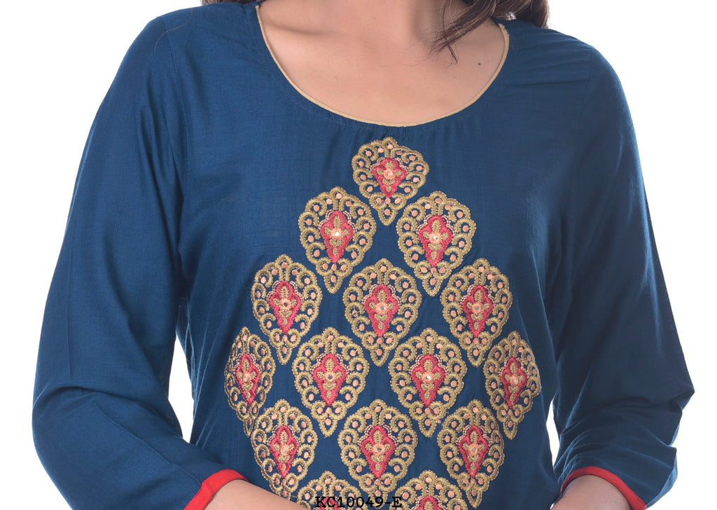 Simple Navy Blue Kurti with embroidery Design