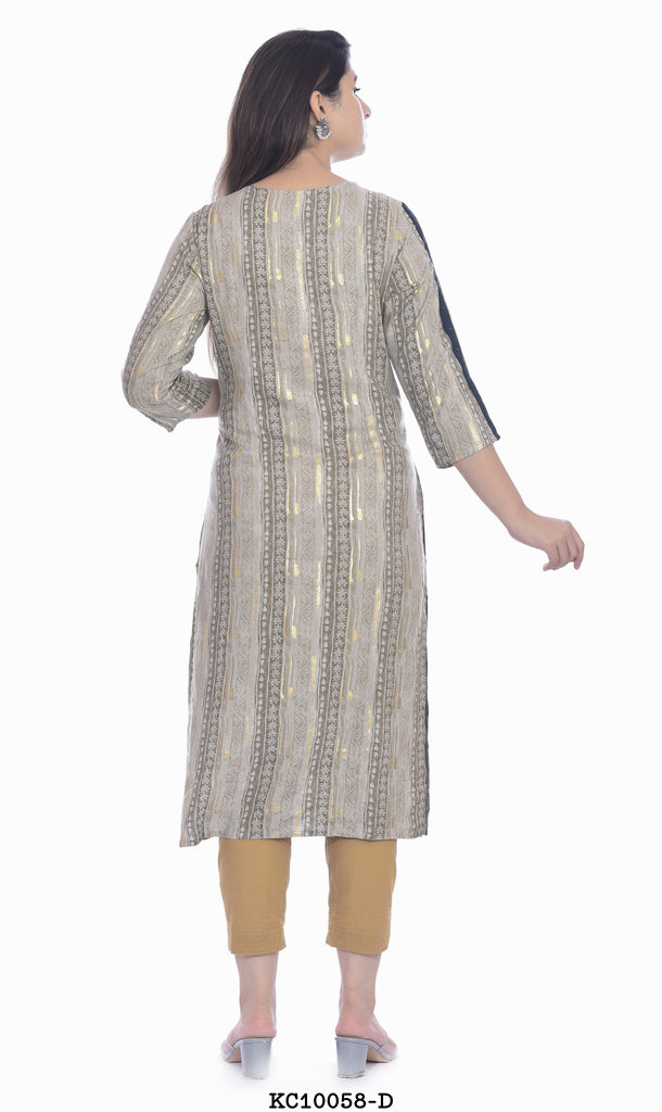Round neck kurti with dotted pant