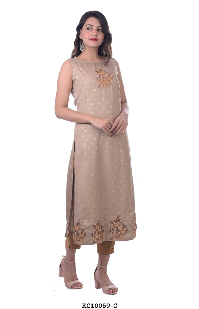Women's Off Grey Straight Kurti