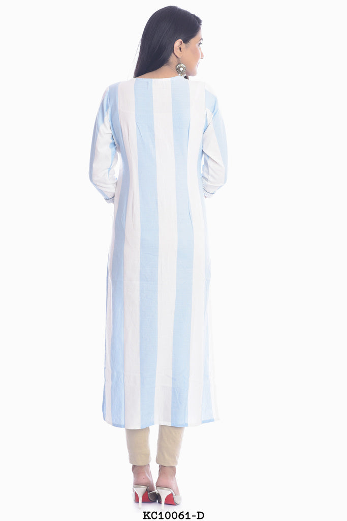 Light blue and white stripped Kurti