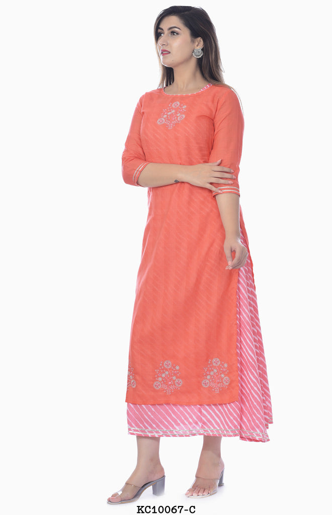 Dark Peach Multilayer Kurta