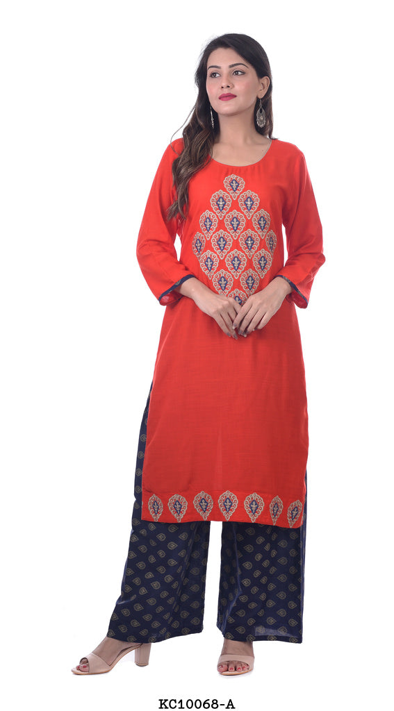 Red kurta with printed blue plazzo