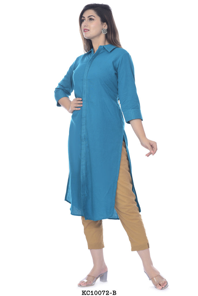 Blue High Neck kurti