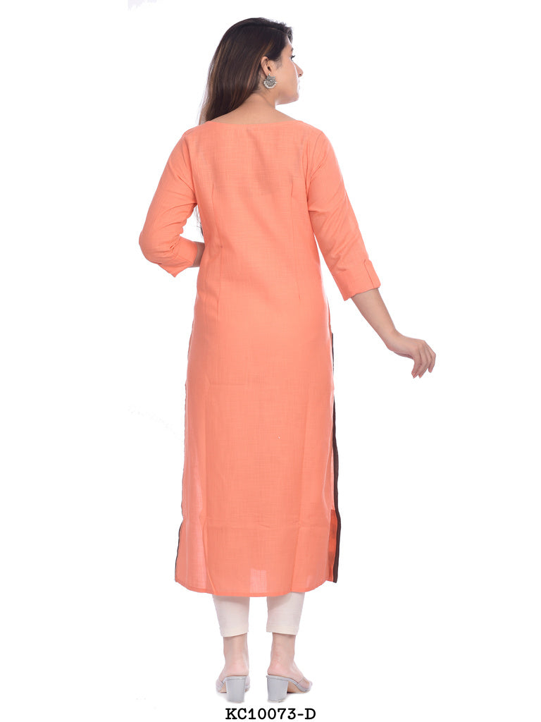 Women's Light Orange Grey lined kurti