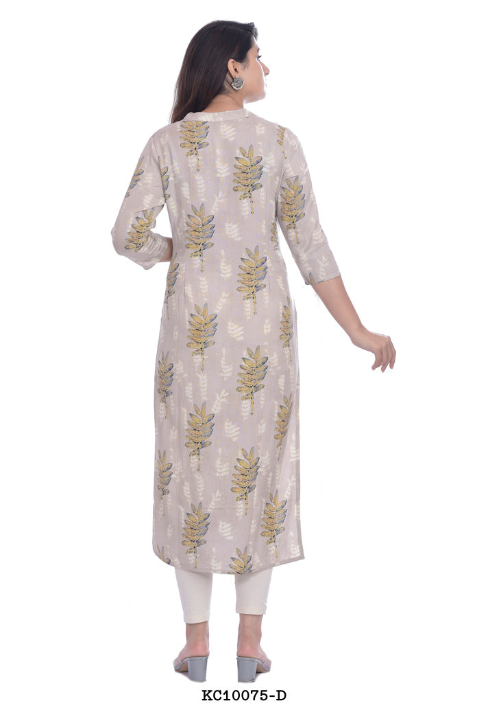 Off white yellow printed kurti