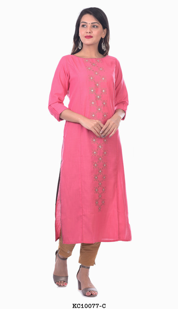 Pink with Grey Lined Kurti