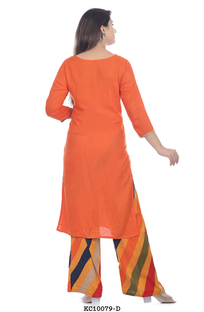 Dark Orange Kurta with Lined Plazzo set