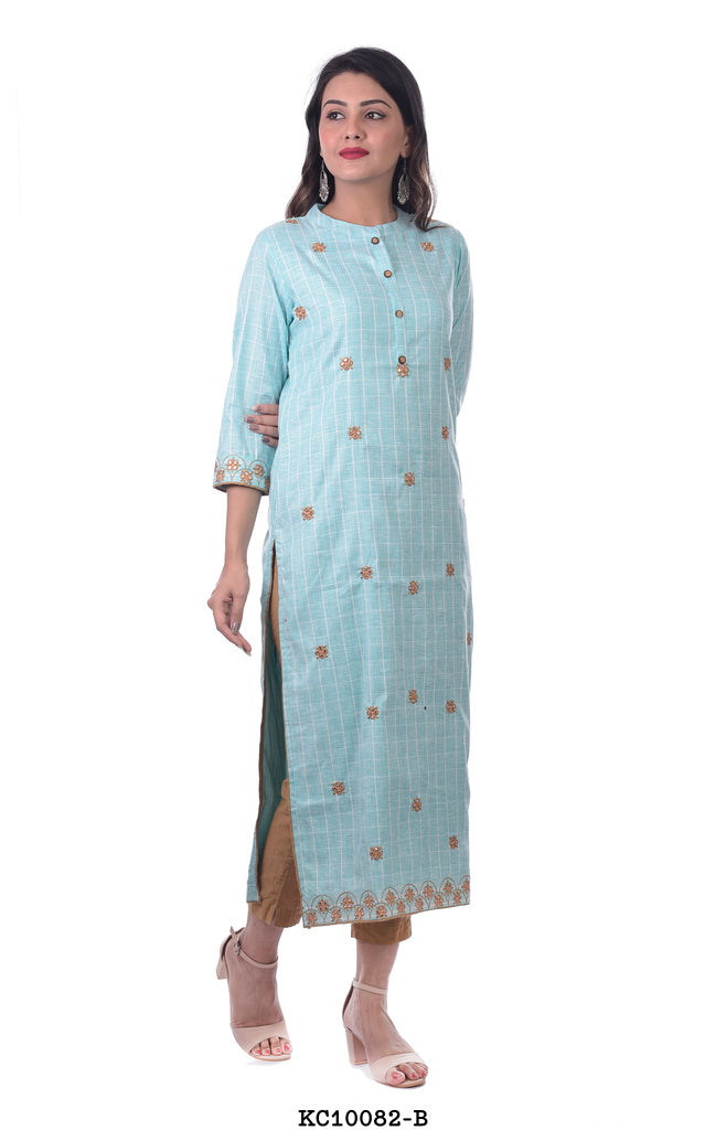 Light Blue Round Neck Kurta