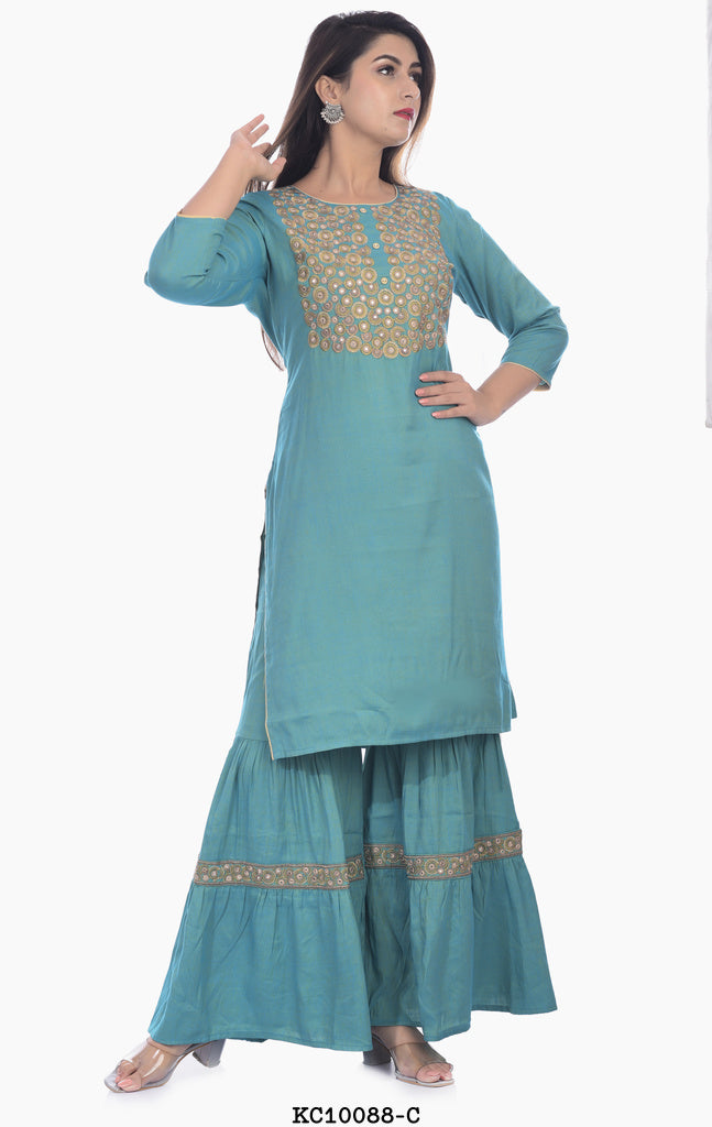Designer Light Blue Kurta with Plazzo
