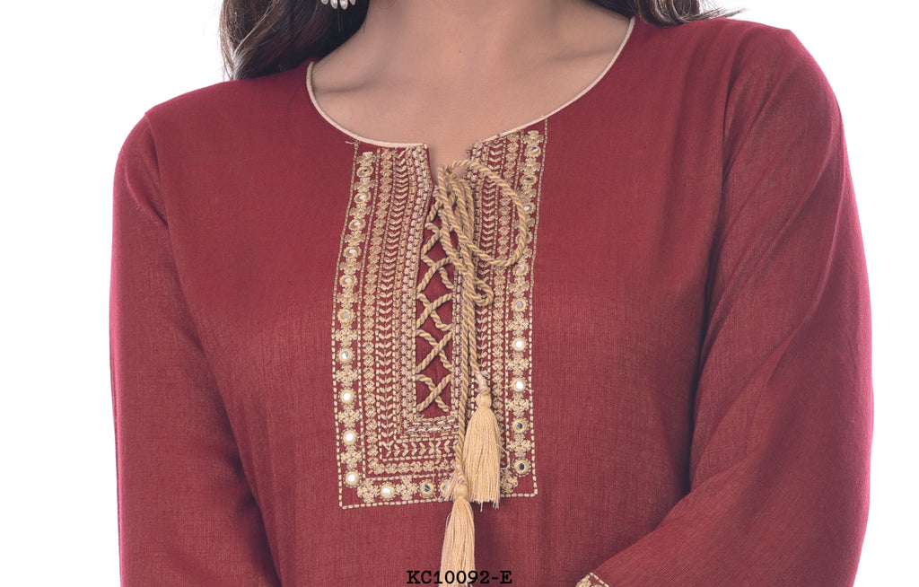 Maroon Kurti with Neck Design