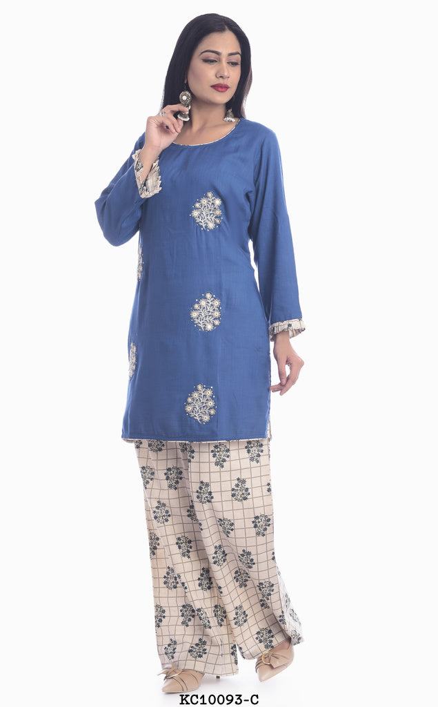 Blue Kurta with off white plazzo pant