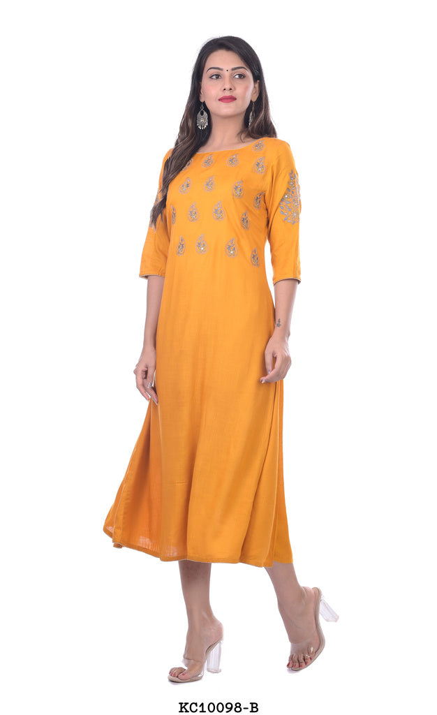 Women's Dark Yellow Plain Kurti