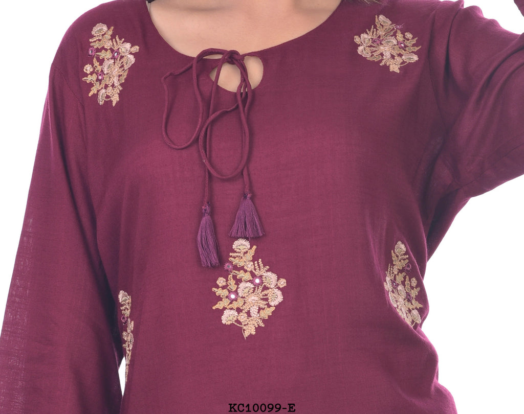 Dark purple embriodary style designer kurti